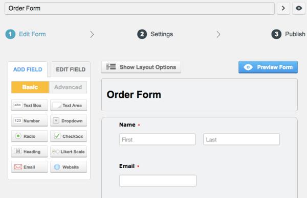 CaptainForm Review: sample order form