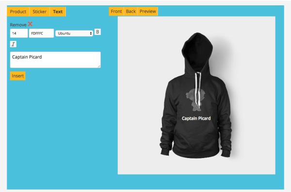 text t-shirt designer