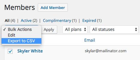 WooCommerce Memberships: bulk action export