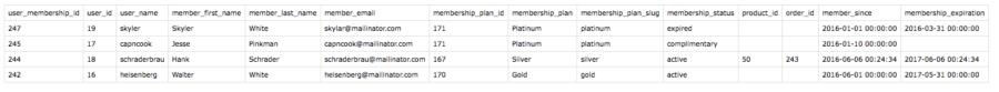 WooCommerce Memberships sample export CSV