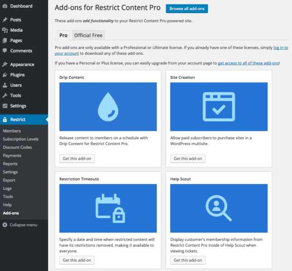 Restrict Content Pro 2.6 Review: RCP 2.6 addons