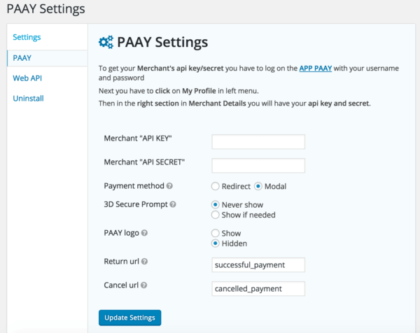 PAAY Gravity Forms Settings