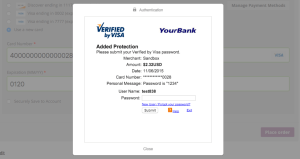 Verified by Visa Example
