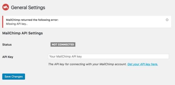 MailChimp for WordPress setup