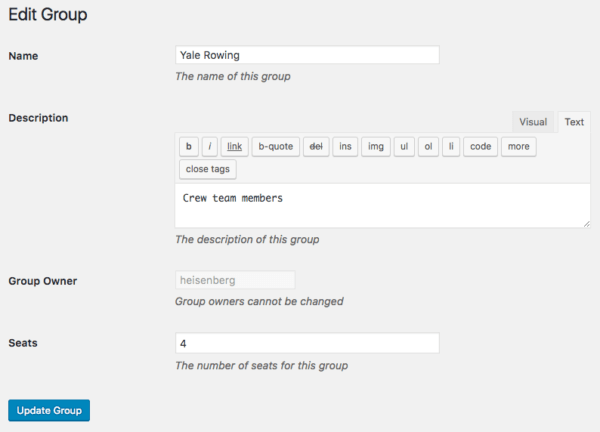 Restrict Content Pro Group Memberships: editing group as admin
