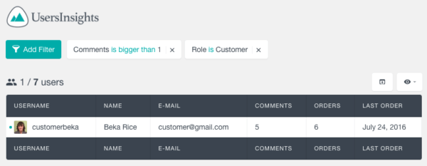 Users Insights Review: Filter by comments