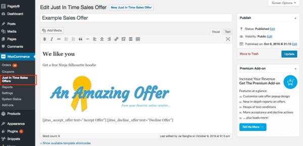 pop-up sales offers text editor