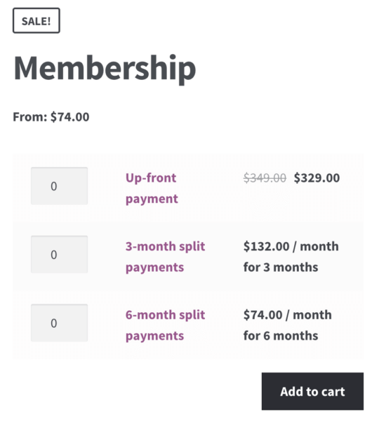 WooCommerce Memberships Payment Plans: Subscriptions grouped product display