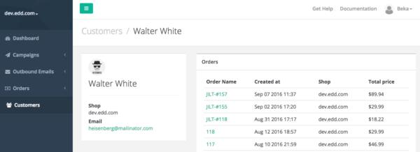 Jilt app: View customer