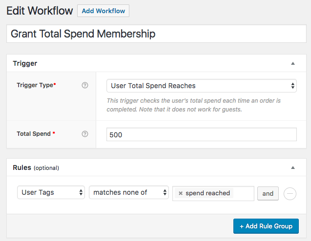 AutomateWoo: Lifetime Spend trigger