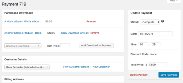 Easy Digital Downloads 2.7 Review: 2.6 edit payment