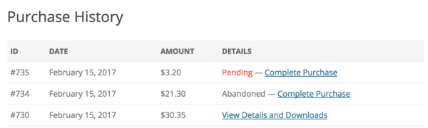 Easy Digital Downloads 2.7 Review: 2.7 payment history