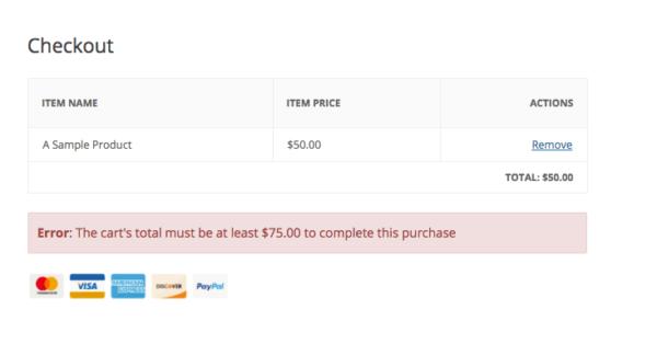 minimum checkout amount error