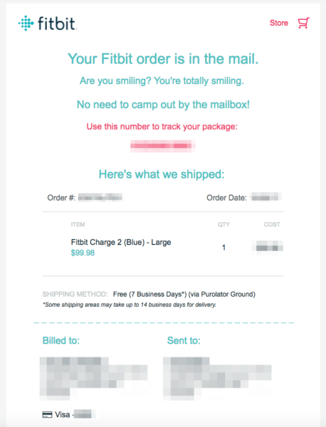 shipping confirmation email fitbit part 1