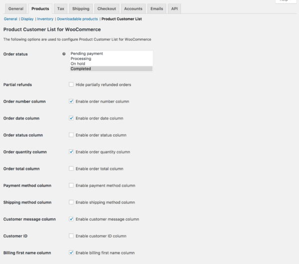 customer list by product settings