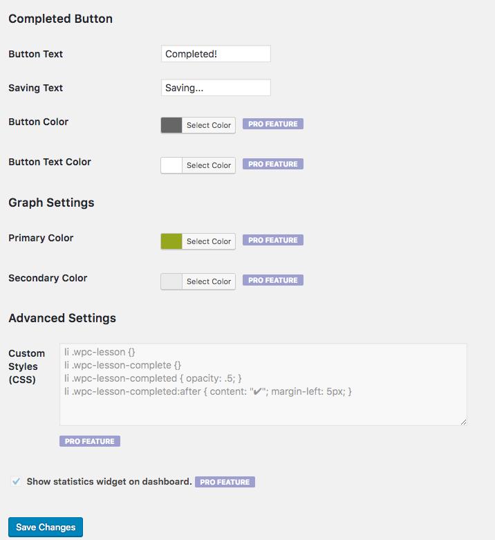 WPComplete settings 2