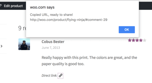 WooCommerce review sharing link copied