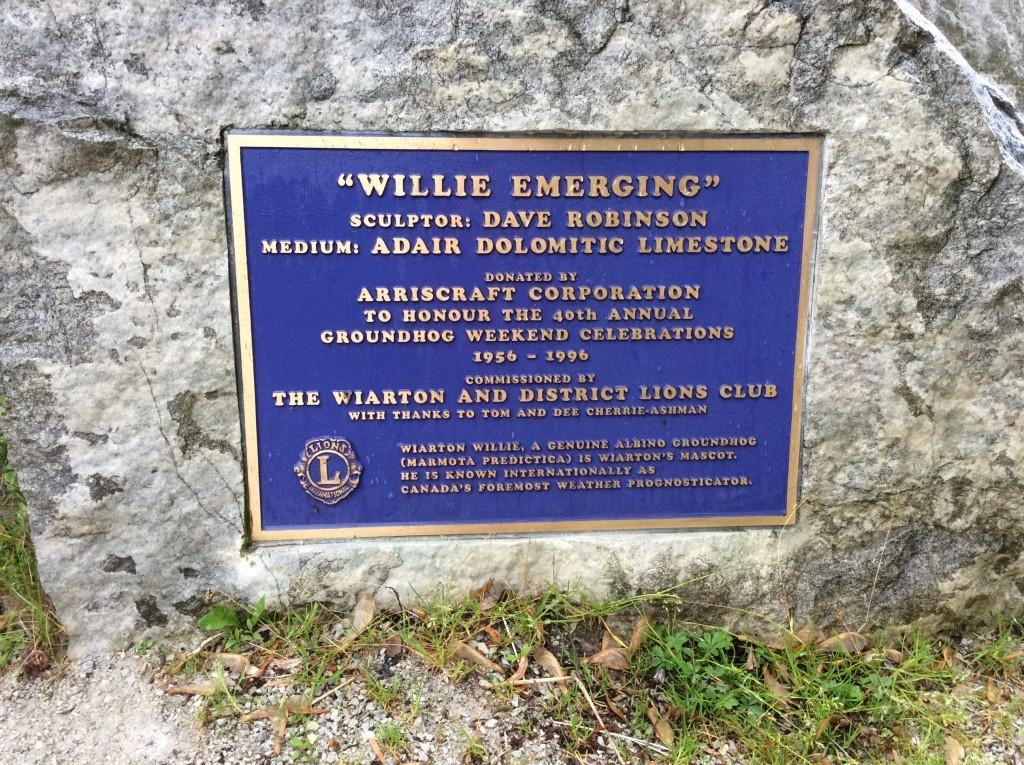 Plaque commemorating Wiarton Willie