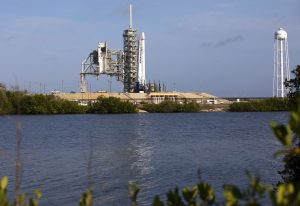 As a Falcon 9 rocket stands ready for liftoff at the Kennedy Space Center's Launch Complex 39A. The rocket will boost a Dragon resupply spacecraft to the International Space Station. Liftoff is scheduled for 5:55 p.m. EDT. On its 11th commercial resupply services mission to the space station, Dragon will bring up 6,000 pounds of supplies, such as the Neutron star Interior Composition Explorer, or NICER, instrument to study the extraordinary physics of neutron stars.