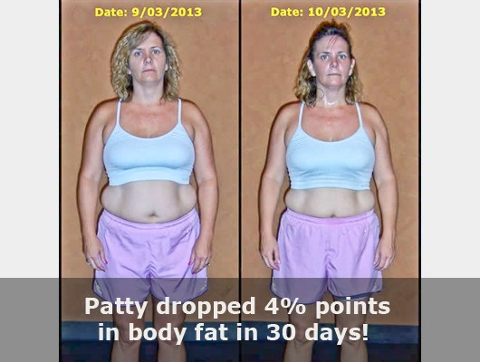 before and after front view photo of female body transformation client who dropped 4 body fat percentage points in just 30 days