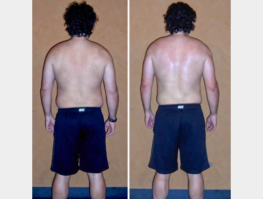before and after back view photo of a male transformation client who lost 24.6 pounds in just 40 days