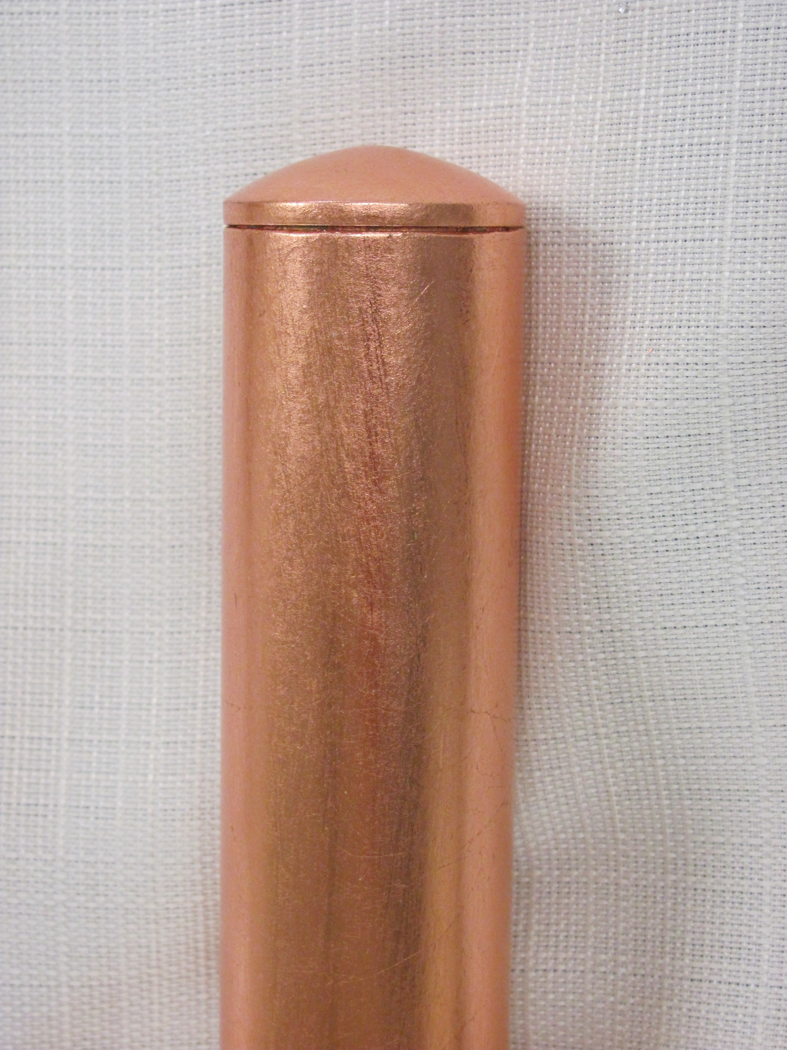 1-1/2 Inch Iron with Textured Copper Leaf and Domed End Cap