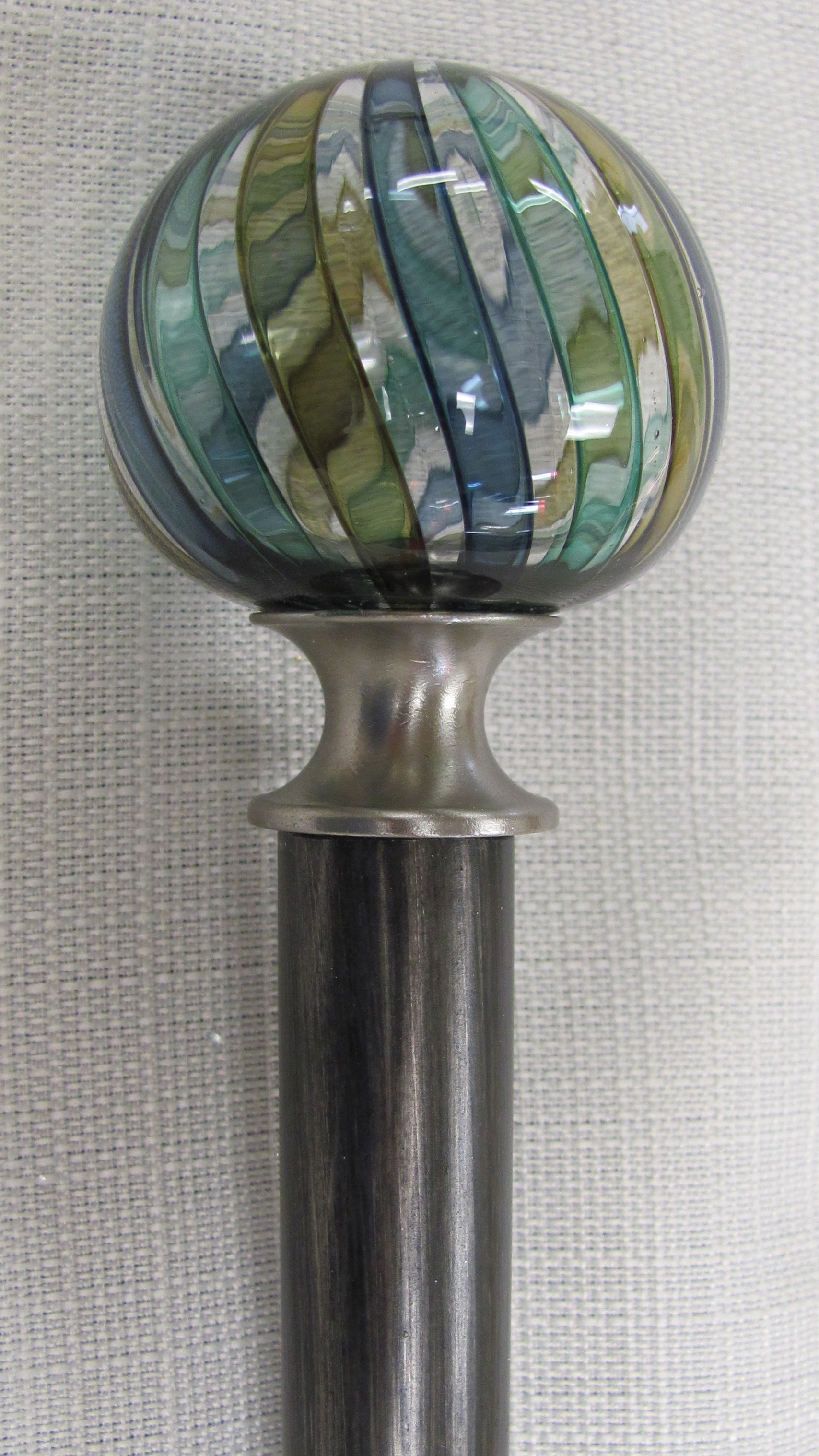3/4 Inch Iron with Black Glazed Finish and Tracy Finial, Tide Pool