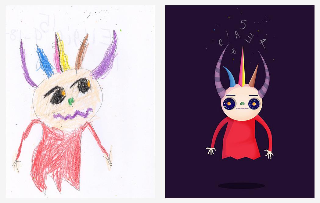 Artistas recriam desenhos de crianças