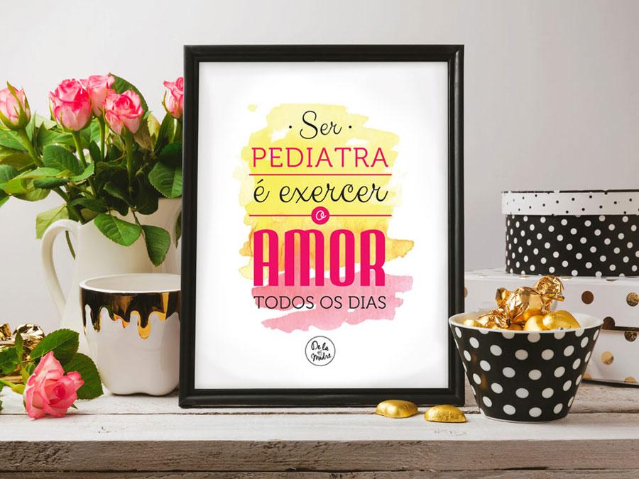 Quadro personalizado com frase para pediatra