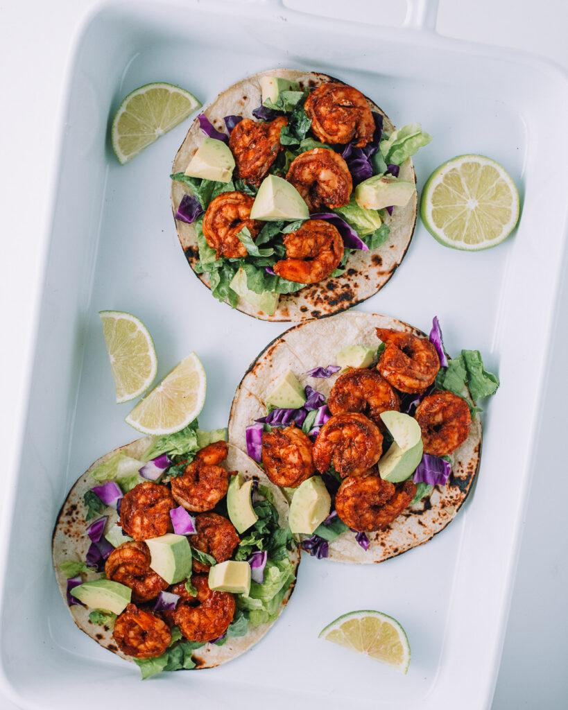 White baking dish filled with 3 Chili Lime Shrimp Tacos