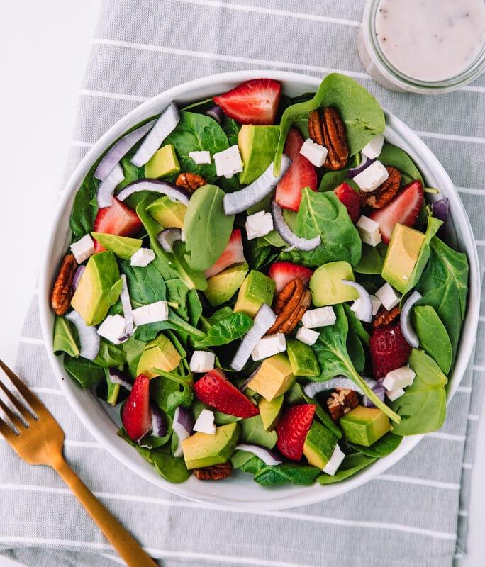 Strawberry Avocado Salad in white bowl