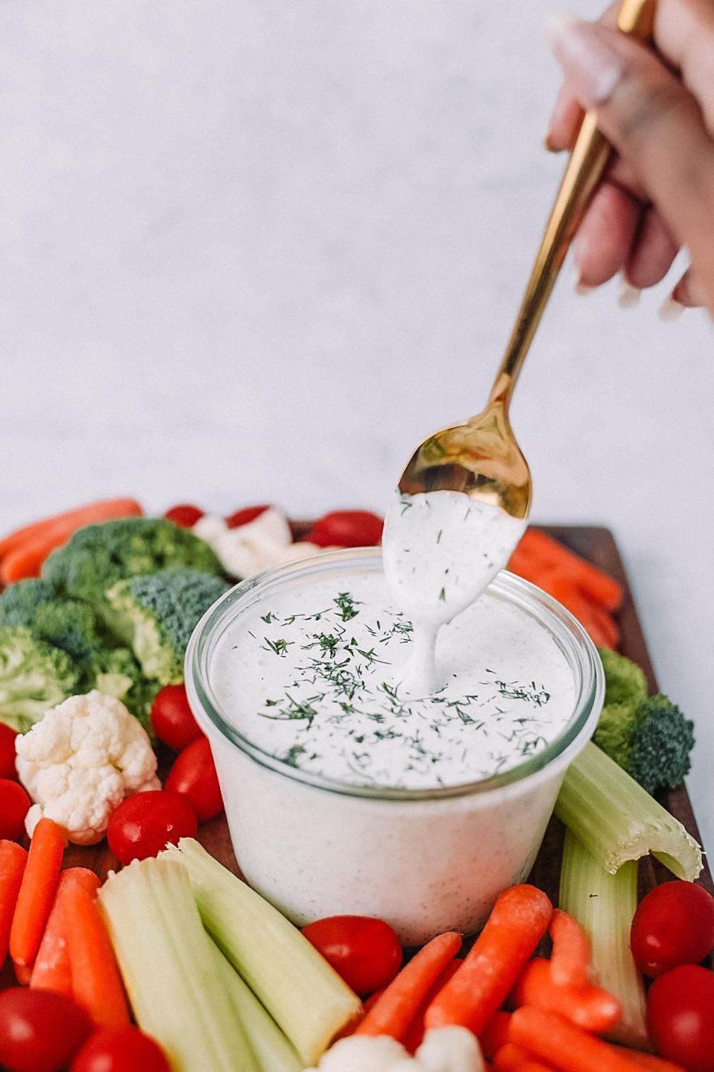 Creamy Greek Yogurt Ranch in a clear jar