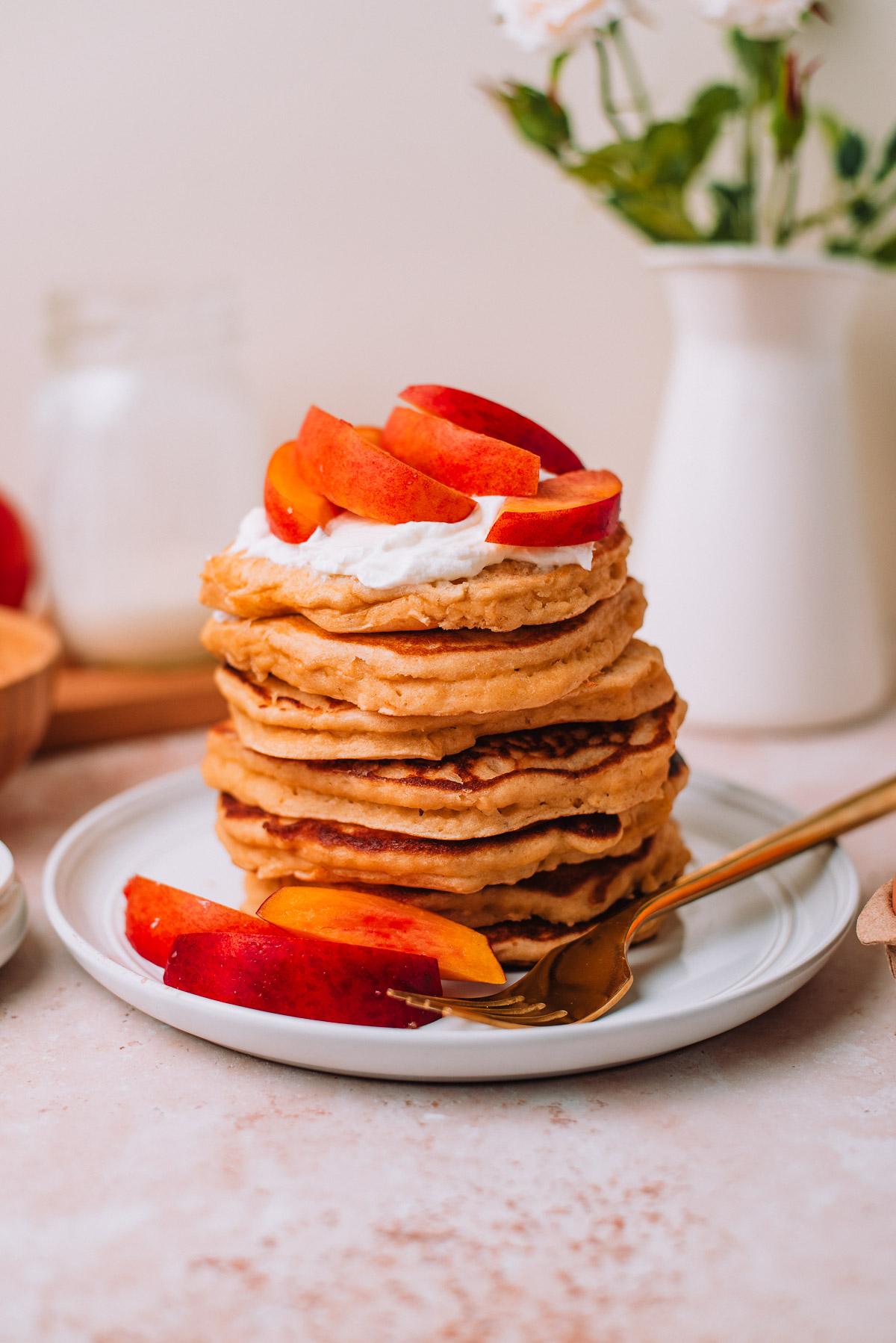 Whole Wheat Pancakes with Yogurt and Nectarines