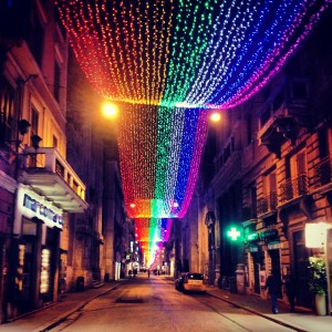 Rainbow Lights on Via del Corso, Rome