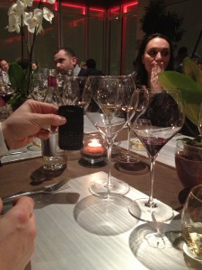 One of the best laughs I had all year....a massive wine glass during a dinner at Identita' Golose. A fellow guest held his BlackBerry up next to it for context!