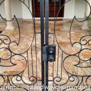 walkway slab pavers inside gate