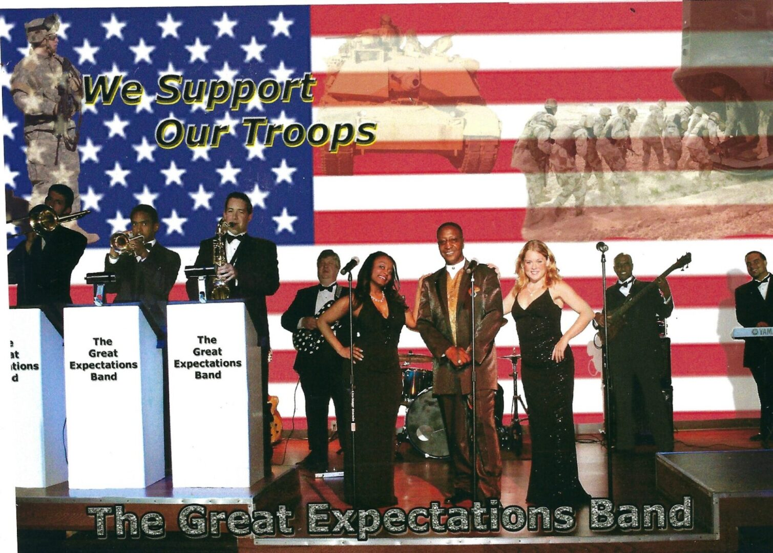 the great expectations band with the American flag in their background