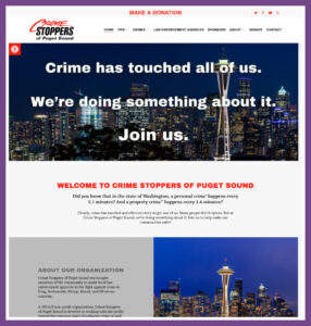Crime Stoppers of the Puget Sound, a Website Designed by Hummingbird Marketing Services