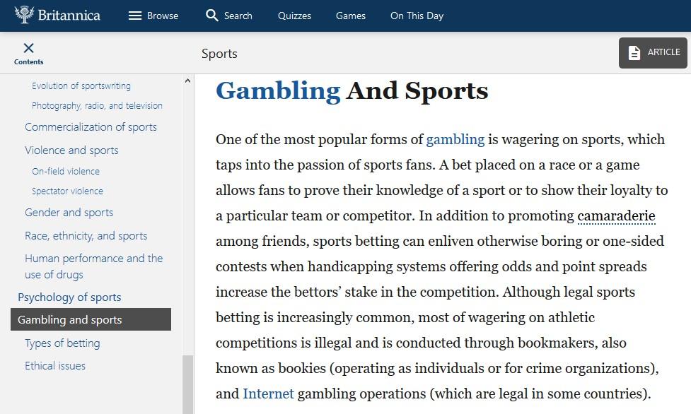 Sports Gambling Britannica
