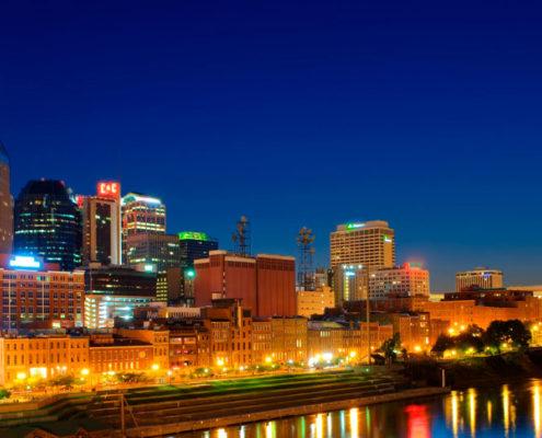 Nashville's skyline at night