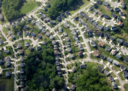 Suburbs with green space