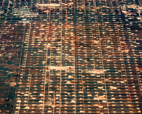 Aerial photo of energy extraction sites in Texas