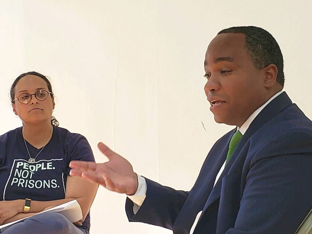 Kristie Puckett-Williams, from ACLU of NC, and District Attorney Spencer Merriweather