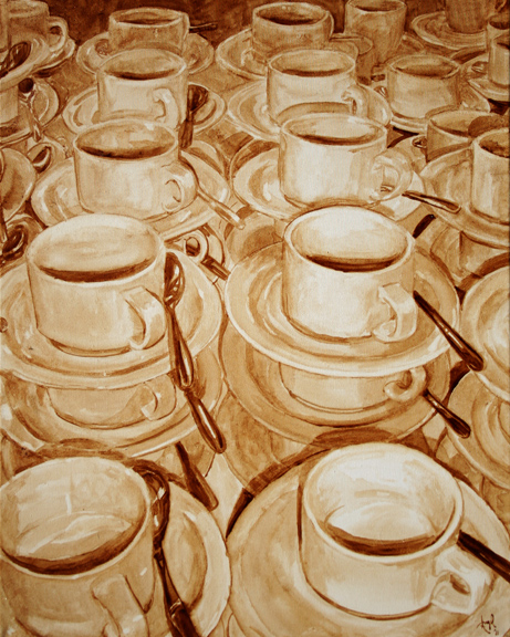 """Angel Sarkela-Saur created this original """"Awaiting Fulfillment"""" Coffee Art® painting. It features stacks of empty cups waiting to be filled with coffee."""