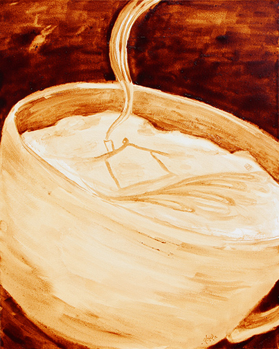 "Angel Sarkela-Saur created this original ""Coffee House"" Coffee Art® painting. It features an image of a house in cup of coffee with steam rising from the chimney."