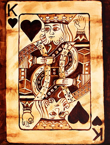 """Angel Sarkela-Saur created this original """"Coffee King"""" Coffee Art® painting. It features the King of Hearts playing card holding a cup of coffee and a sugar cube in the other hand."""