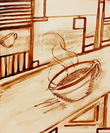 """Angel Sarkela-Saur created this original """"Coffee Lines"""" Coffee Art® painting. It features a cup of coffee image in a heavy line style."""