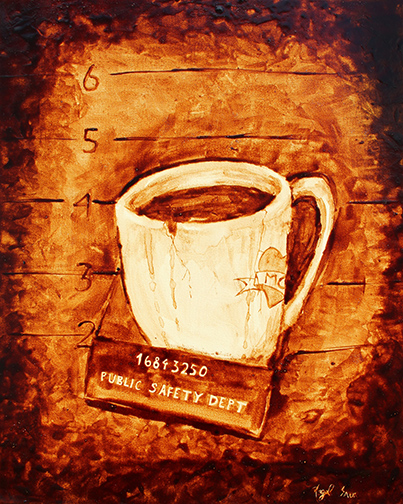 "Andrew Saur & Angel Sarkela-Saur created this original ""Coffee Mug"" Coffee Art® painting. It features an accused cup of coffee posing for its mug shot."