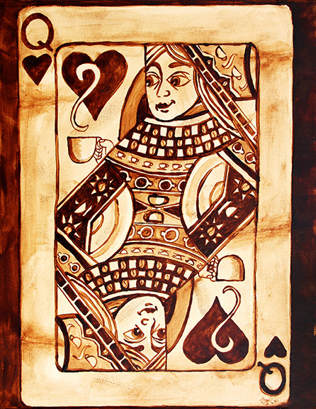 "Angel Sarkela-Saur created this original ""Coffee Queen"" Coffee Art® painting. It features a Queen playing card holding a cup of coffee."