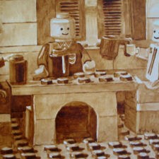 "Angel Sarkela-Saur and Andrew Saur created this original ""Coffee Shop"" Coffee Art® painting. It features friends gathering around a table enjoying their cups of coffee."